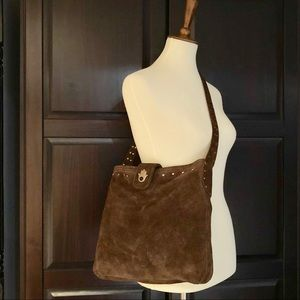 "Handbags - Brown Suede ""Upcycled"" Bag with Studded Strap"